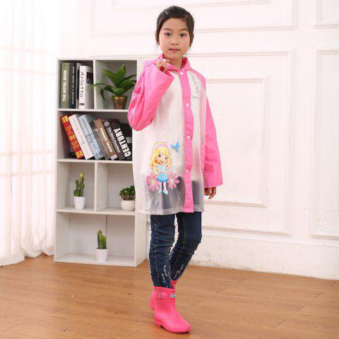 Cartoon Printed Cut Transparent PVC Children Raincoat for Boys and Girls - VIOLET RED L