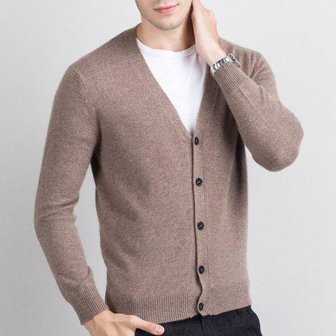 Autumn and Winter Men's Cashmere Sweater Trend New V Collar Wear Sweater - ROSE GOLD 2XL