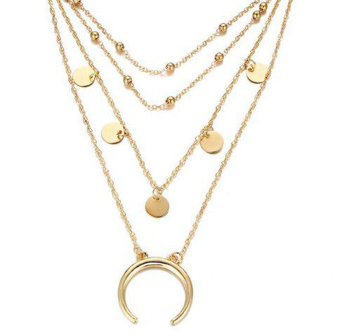 Popular Personality Moon Bend Bead Chain Multi Necklace - GOLD