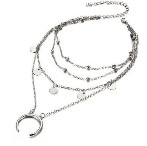 Popular Personality Moon Bend Bead Chain Multi Necklace - SILVER
