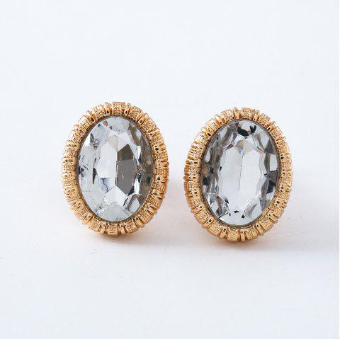 New Gold silver fashion of high-end oval glass ear clip girl gifts crystal earr - multicolor A
