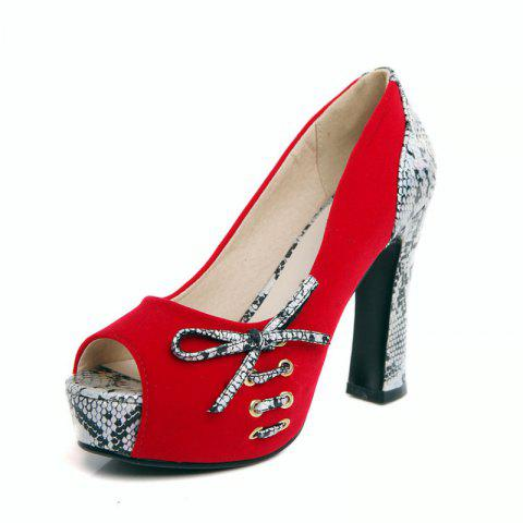 Sexy Fish Mouth with High Heel and European and American Ladies Shoes - RED EU 37