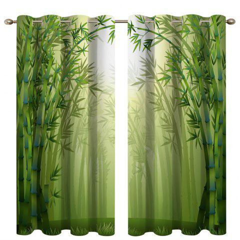 Misty Bamboo Forest Digital Printing High Precision Black Silk Blackout Curtains - multicolor 135 X 245CM
