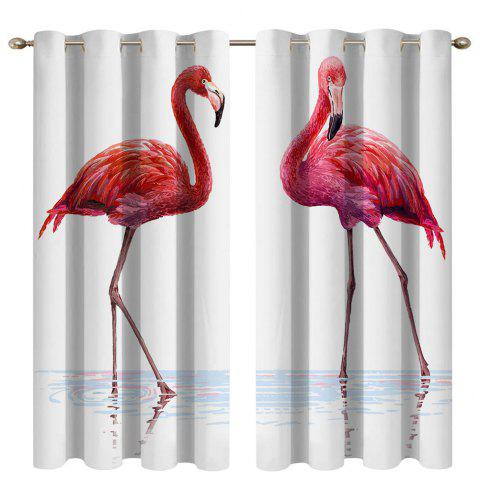 Water Flamingos Digital Printing High Precision Black Silk Blackout Curtains - multicolor 135X215CM