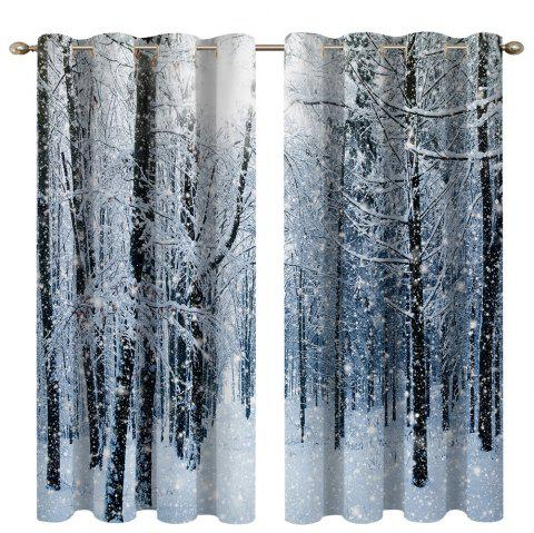 Snow in The Woods Digital Printing High Precision Black Silk Blackout Curtains - multicolor 135 X 245CM