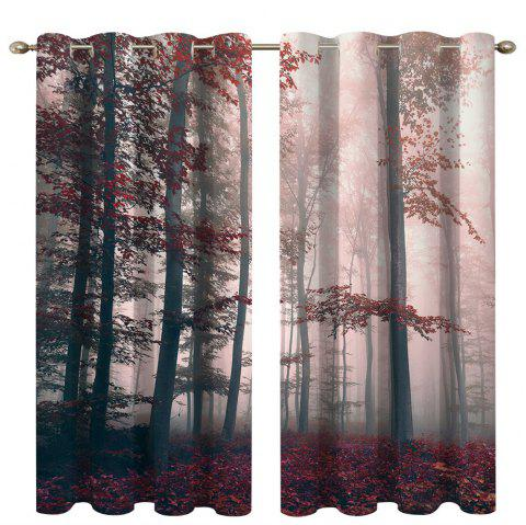 Mysterious Forest Digital Printing High Precision Black Silk Blackout Curtains - multicolor 135 X 215CM