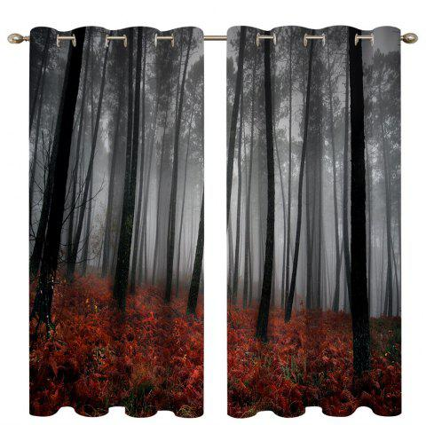 Mangrove Forest Digital Printing High Precision Black Silk Blackout Curtains - multicolor 135 X 245CM