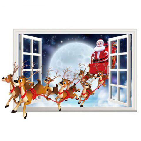 3 D Stickers Santa Claus False Window Stickers - RED