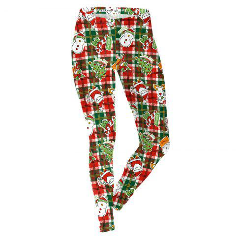 Christmas Snowman Pattern Costume Clothes Sport Leggings for Women - RED XL