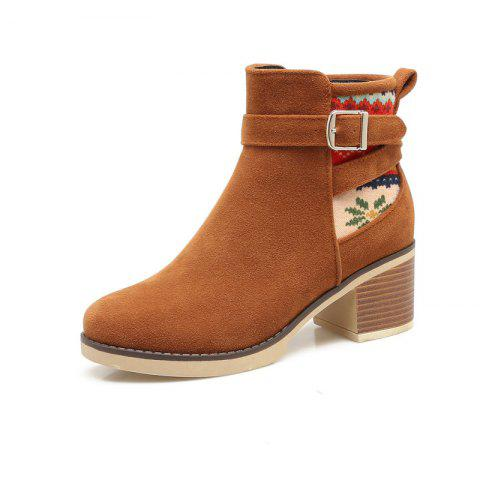 The Round Head Is Rough Hit By Color Buckle with Casual Short Boots - BROWN EU 38