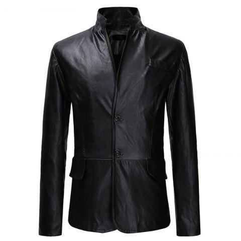 Men's Fashion Classic Two-button Casual Slim Collar Leather Suit - BLACK XL