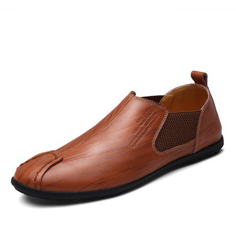 Cowhide Casual Leather Shoes - SEPIA 39