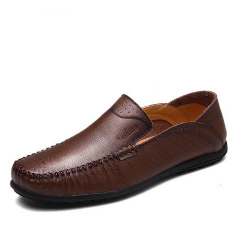 Leather Fashion Vintage Leather Shoes - DEEP COFFEE 38