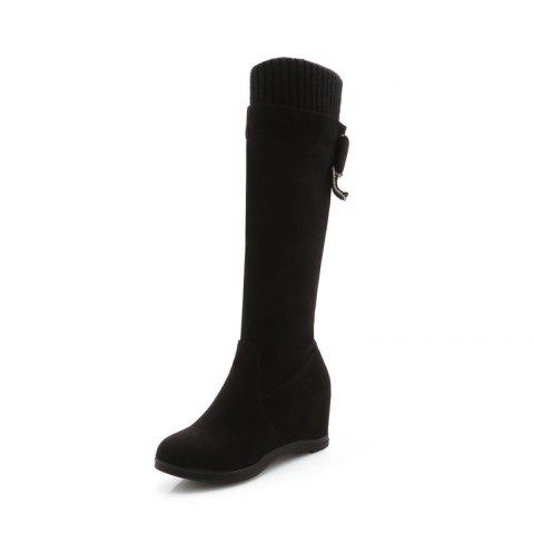 The Inside Is Raised with Wool Knitting Feet Sweet Knee Boots - BLACK EU 39