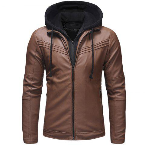 Fashion Pleated Design Men's Casual Slim Zipper Hooded Leather Jacket Leather - COFFEE M