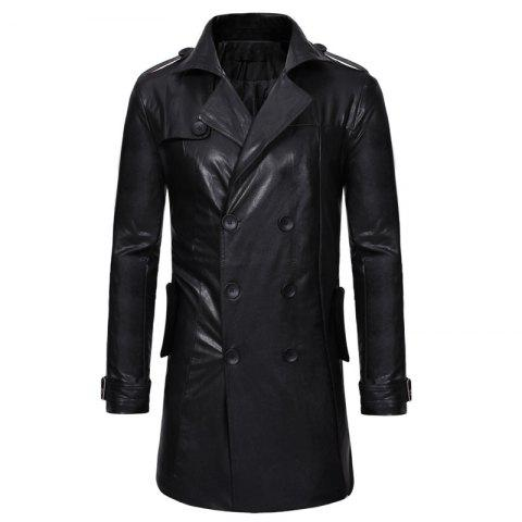 Double-breasted Large Lapel Men's Casual Slim Long Leather Trench Coat - BLACK XL