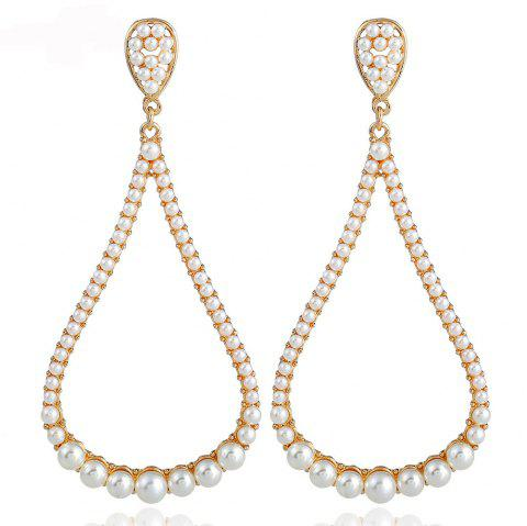 Creative Pearl Long Alloy Earrings with Exaggerated Personality - CHAMPAGNE GOLD