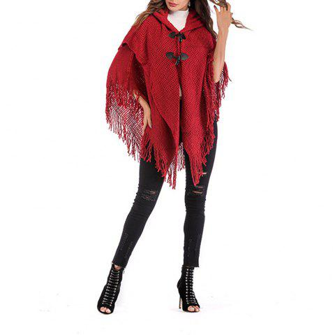 Women'S Personality Tassel Double Breasted Sweater Hooded Shawl - RED ONE SIZE