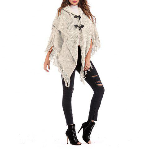 Women'S Personality Tassel Double Breasted Sweater Hooded Shawl - WHITE ONE SIZE