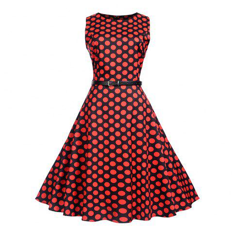 Waist To Look Slim and Swing A Dress - CHERRY RED L