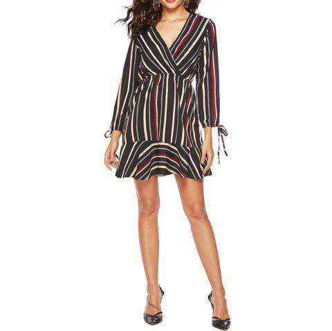 2019 Spring New Striped Print V-Neck Lotus Leaf Long Sleeved Dress - multicolor A S
