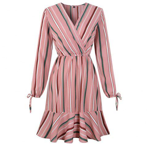 2019 Spring New Striped Print V-Neck Lotus Leaf Long Sleeved Dress - multicolor B M