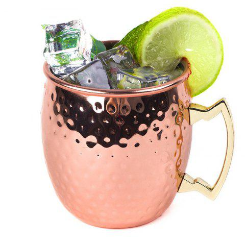 Hammered Moscow Mule Copper Plated Mugs 304 Stainless Steel 550ml Beer Drinkware - ROSE GOLD 锤点杯