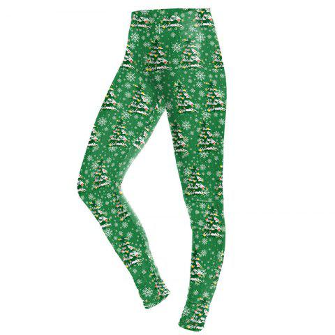Christmas Tree Pattern Print Clothes Costume  Women Sport Leggings - Vert Pin S