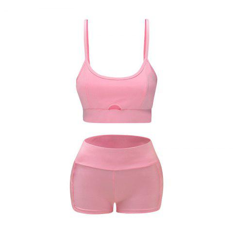 Women's Yoga Sportswear Sling Openwork Top+Shorts Sweat-wicking Sports Suit - PINK XL