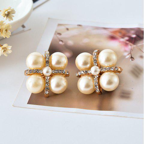 Fashion Gold Crystal Ear Clip Brincos Perle Pendientes Bou Pearl Earrings - GOLD