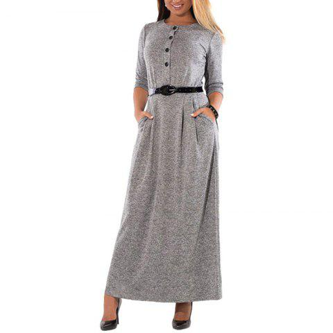 Big Size Women Sashes Maxi Dress With Buttons Long Sleeved For 2018 Autumn New - GRAY 4XL