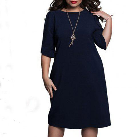 Fashionable Loose Women Dresses Big Sizes 2018 Plus Size Women Clothing Half - DEEP BLUE 3XL