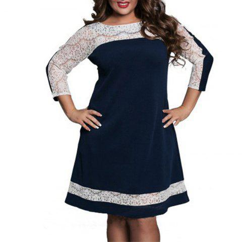 Plus Size Lace Patchwork Autumn Women Dress Fashion Long Sleeve New Dresses - DEEP BLUE 3XL
