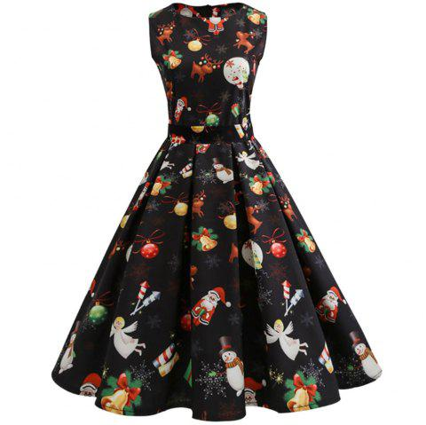 2018 New Christmas Print Long Dress - BLACK M