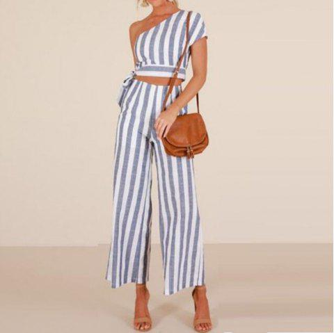 Women's Striped Vest and Pants - POWDER BLUE M