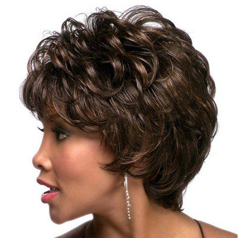 Women Have Short Curly Hair with Sloping Bangs WIG-077 - DEEP BROWN