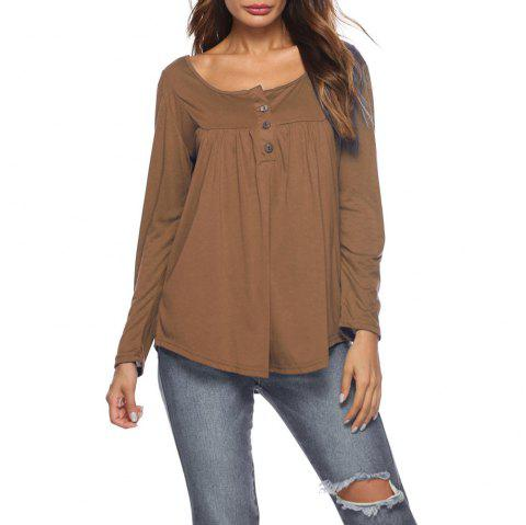 c586bc34d Women's Round Neck Solid Color Casual Loose Long Sleeve Plus Size T-shirt  Tops -