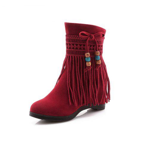 Increased Tassel Bow Knot National Wind Warmth Medium Tube Boots - RED WINE EU 38