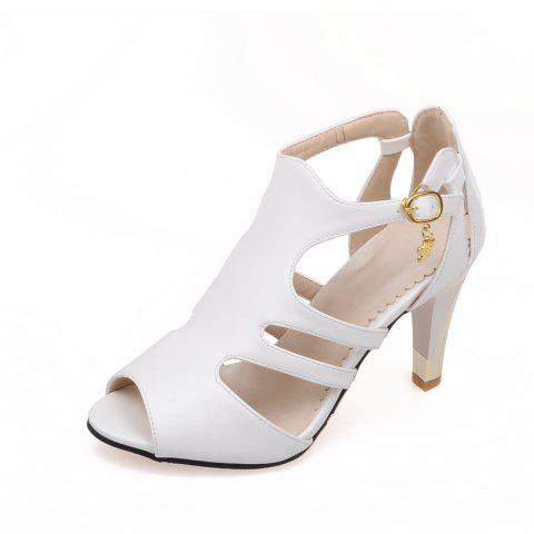 Thin High Heel Hollow Fashion Buckle Strap Sandals - MILK WHITE EU 39
