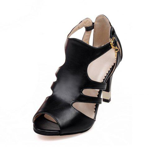 Thin High Heel Hollow Fashion Buckle Strap Sandals - BLACK EU 35