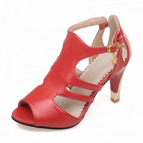 Thin High Heel Hollow Fashion Buckle Strap Sandals - RED EU 34