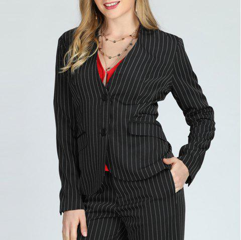 SBETRO Women Suit Single Breasted Striped Jacket  with Pockets - BLACK 1XL