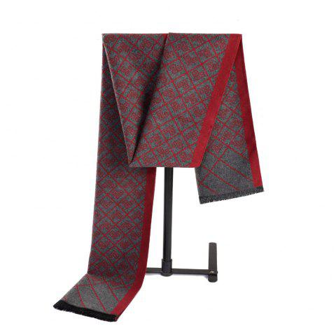 Neutral Ethnic style Cashmere Chinese Knot Double Jacquard Scarf - RED WINE