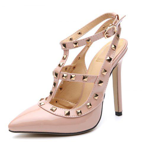 Women's Pointed Toe Stiletto Sling Back Shoes Japanese High Heels with Rivets - APRICOT EU 37