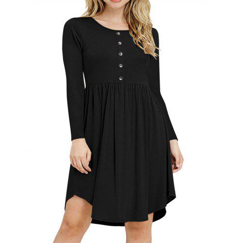 New Tight Waist Round Collar Button Long Sleeve Pleated Dress - BLACK S