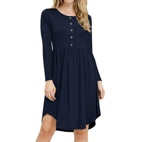 New Tight Waist Round Collar Button Long Sleeve Pleated Dress - MIDNIGHT BLUE L