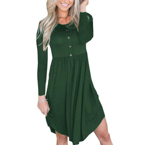New Tight Waist Round Collar Button Long Sleeve Pleated Dress - DEEP GREEN L