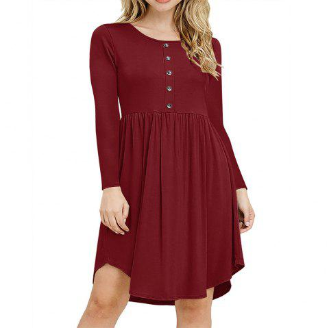 New Tight Waist Round Collar Button Long Sleeve Pleated Dress - RED WINE S