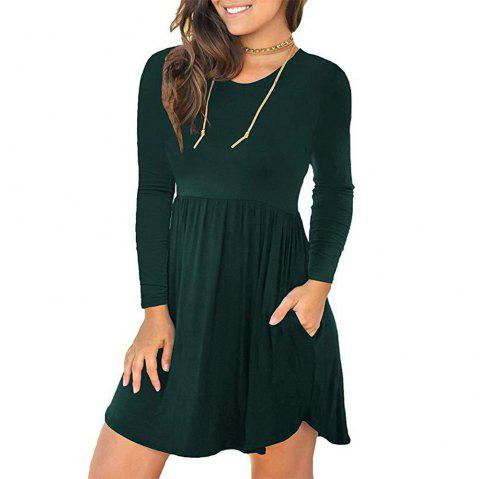 New Solid Color Round Neck Pocket Elastic Waist Long Sleeve Dress - DEEP GREEN S