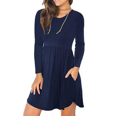 New Solid Color Round Neck Pocket Elastic Waist Long Sleeve Dress - MIDNIGHT BLUE L